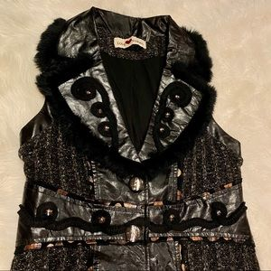 Love Token Fur Trimmed Button Down Vest